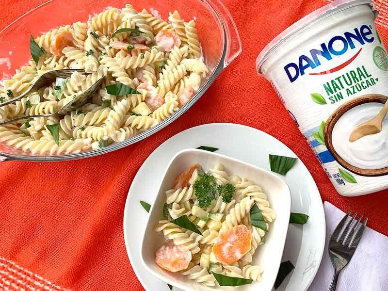 Coditos Con Salsa De Yoghurt Receta Facil Platos De Camarones