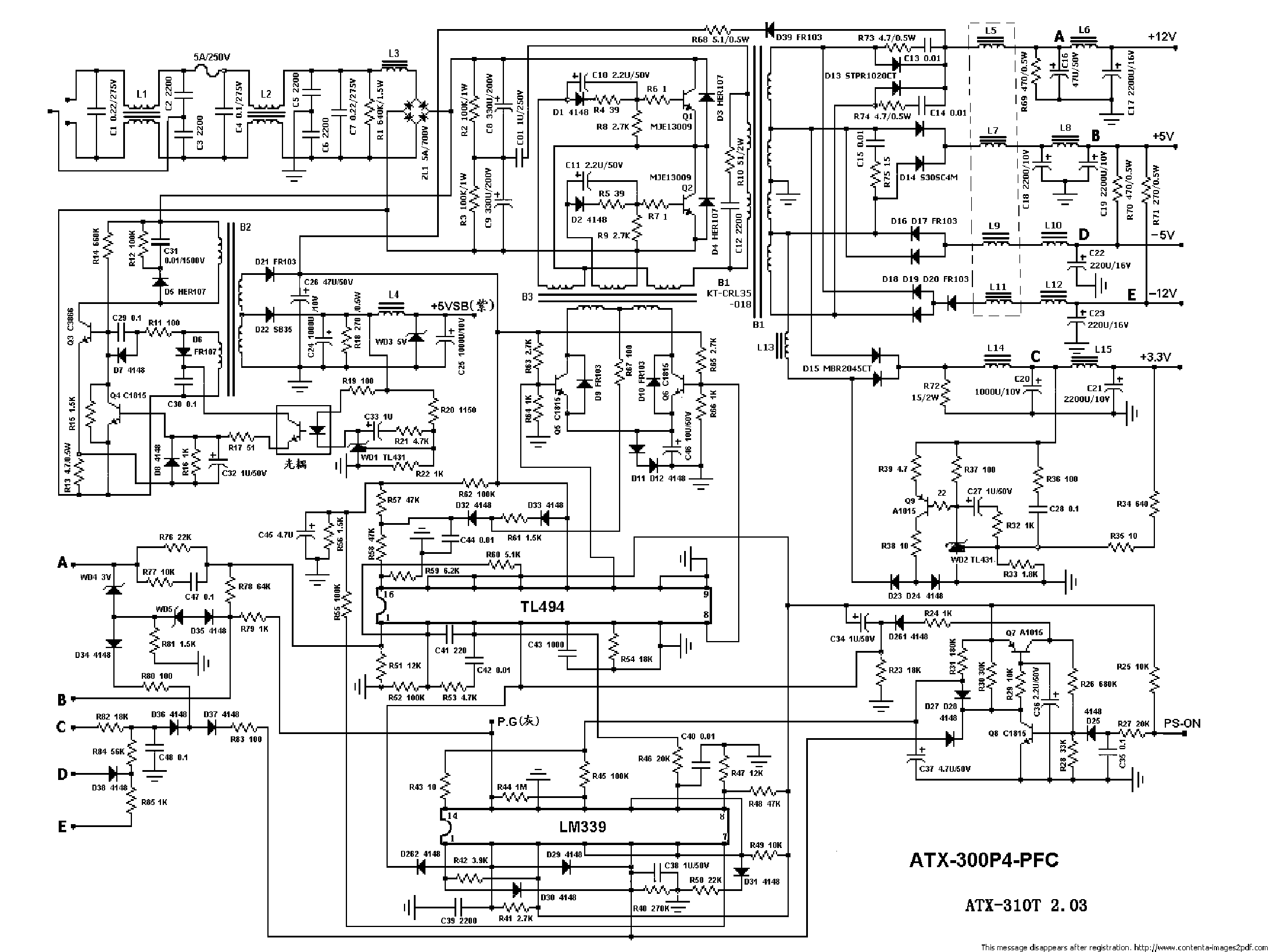 atx 300p4 pfc pc power supply sch manual de servicio descarga gratuita inside wiring diagram [ 2185 x 1638 Pixel ]