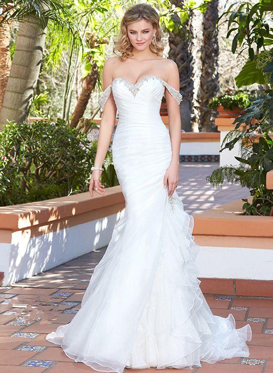 2017 New Arrival Wedding Dresses Organza Vestidos De Novia Off-Shoulder Sleeveless Beaded Sweep Train Bridal Gowns