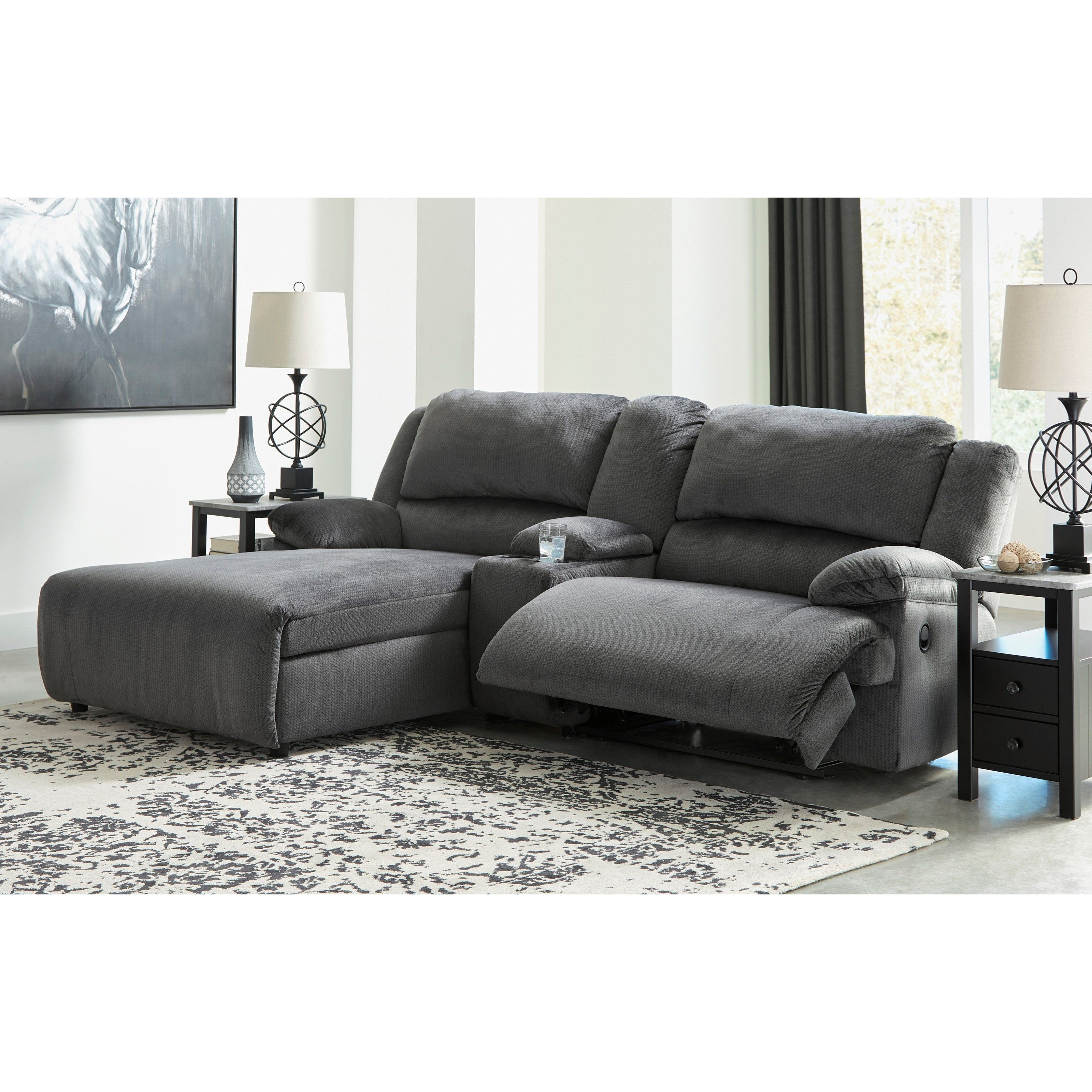 Clonmel Power Reclining Sectional W Chaise Console By Signature Design By Ashley At Conlin S Furniture Small Sectional Sofa Reclining Sectional With Chaise Home