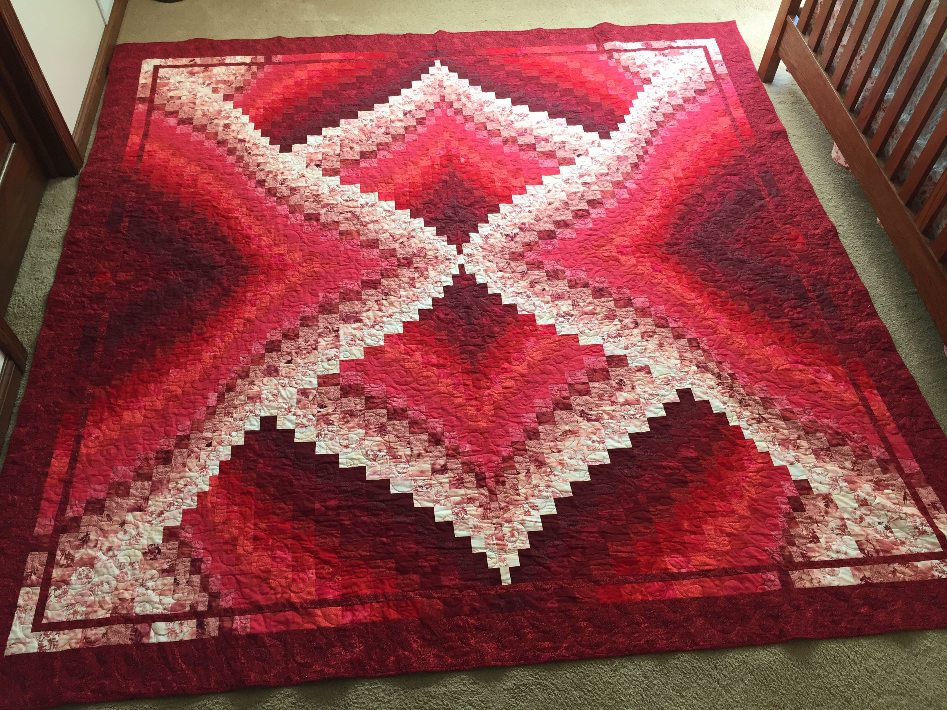 This is a Supernova Twist and Turn Bargello quilt pattern from