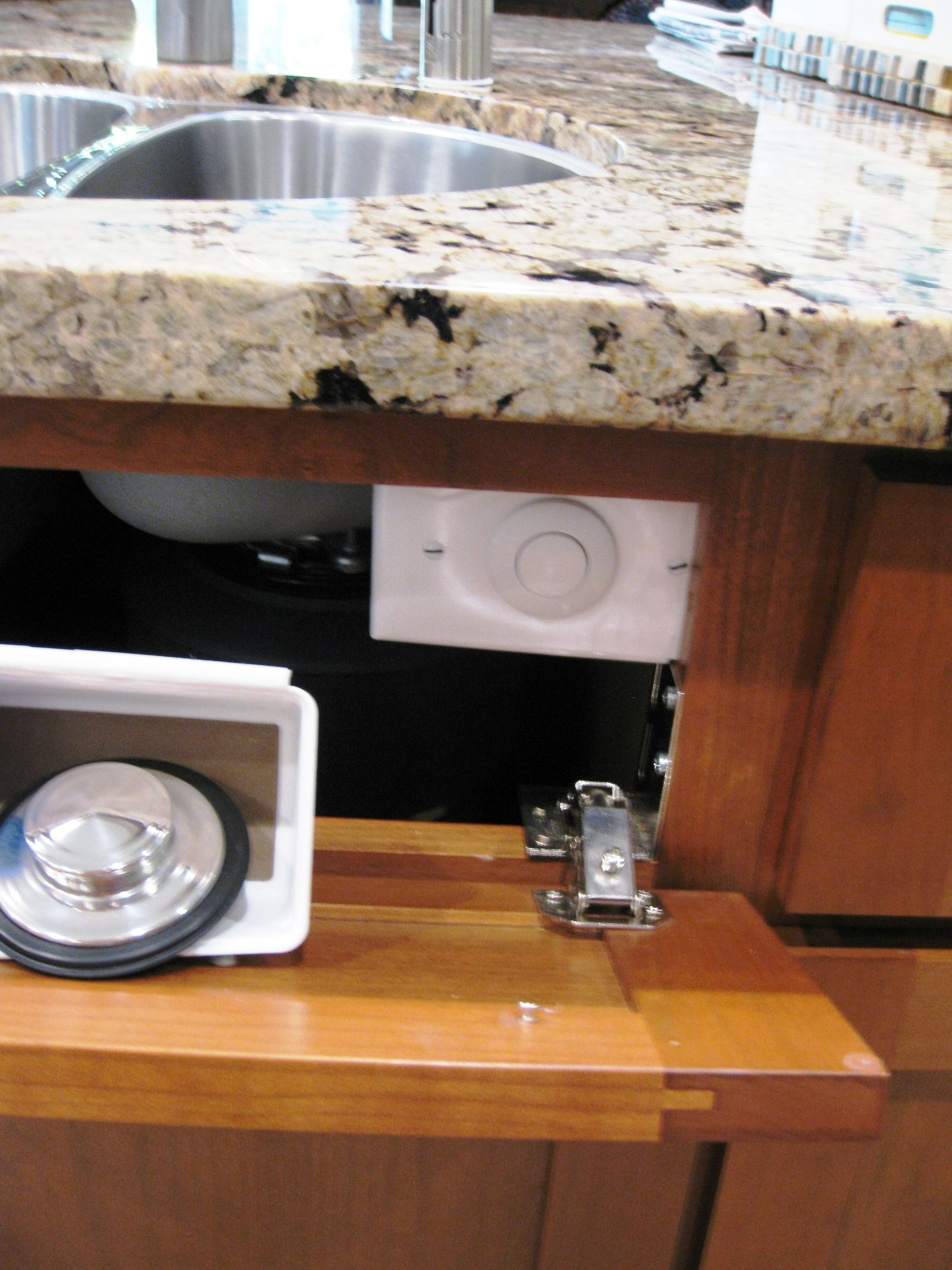 Disposal Switch Hidden One Less Hole In Your Kitchen Granite My Husband Mounted A Switch Box Un Kitchen Sink Install Kitchen Sink Remodel Diy Kitchen Remodel
