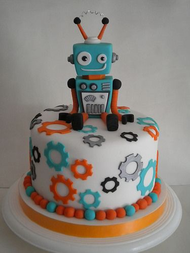 Terrific Torta Robot Flickr Intercambio De Fotos Ashers 3Rd Birthday Personalised Birthday Cards Epsylily Jamesorg