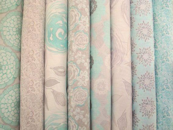Blue Grey Floral Fat Quarter Fabric Bundle - Moda - Stephanie Ryan - Modern Roses on Etsy, $21.99