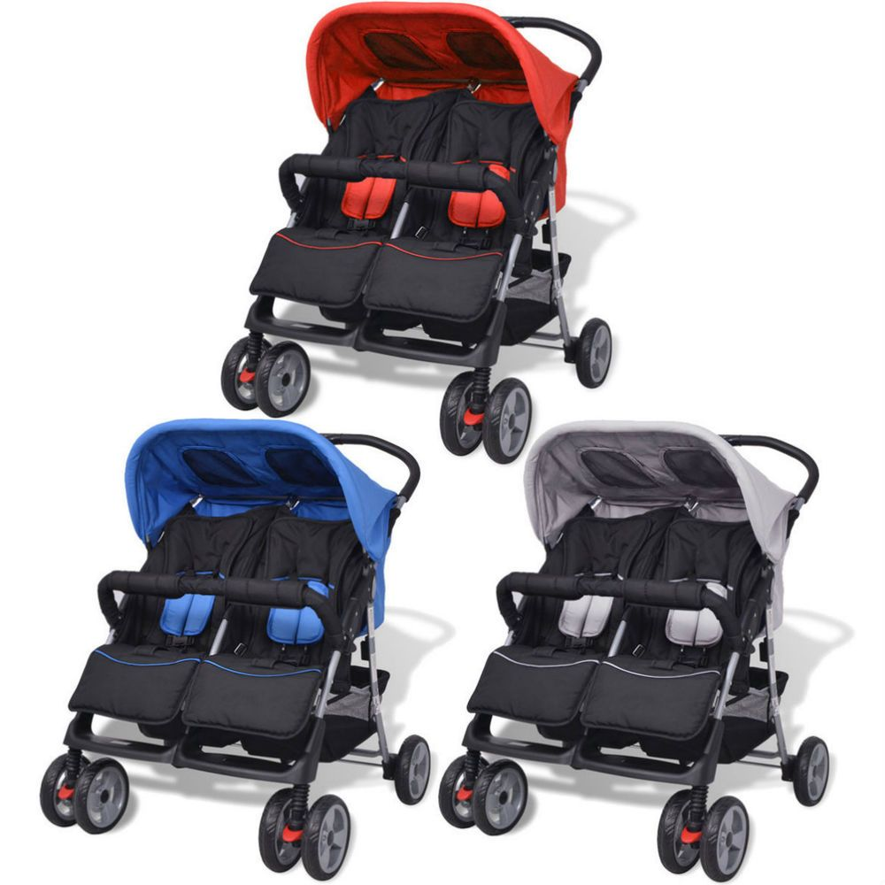 Details about Double Baby Buggy Twin Kids Tandem Pram