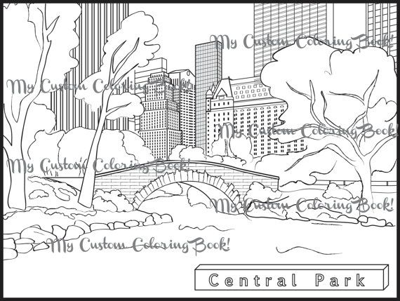 Instantly Download A Coloring Page Of Beautiful Central Park