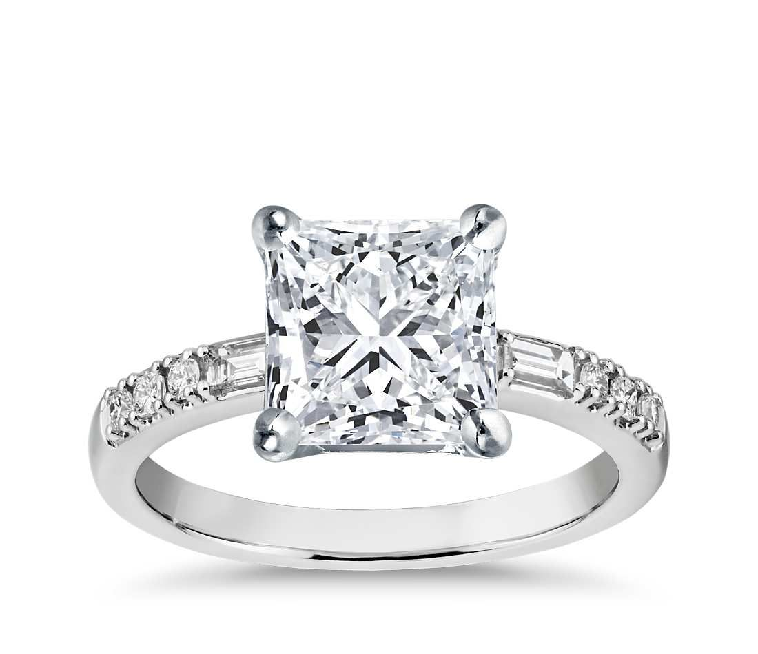 Princess cut colin cowie dot dash diamond engagement ring platinum