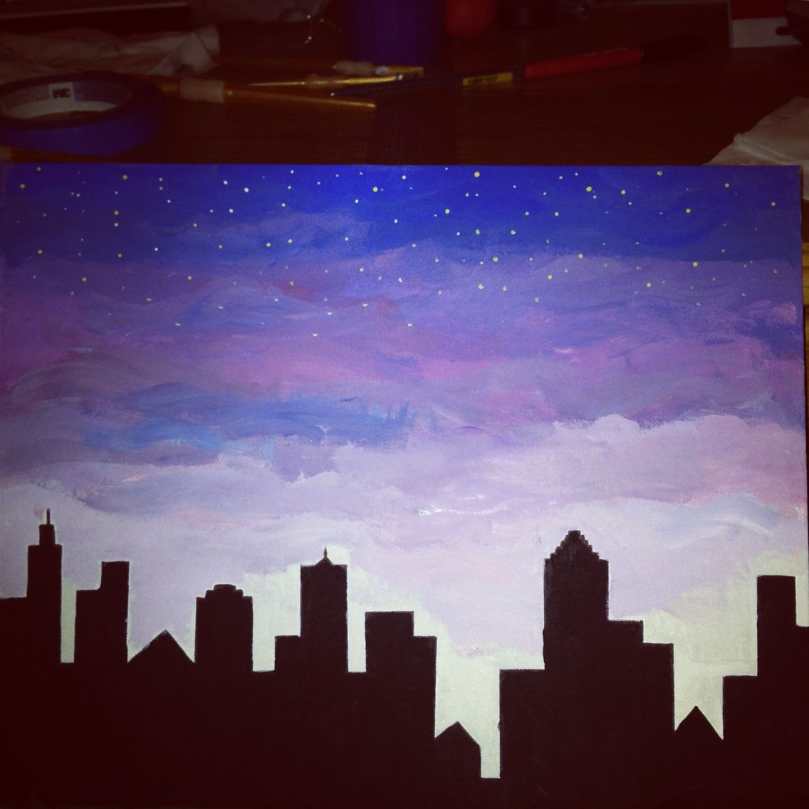 Easy Canvas Painting Nighttime City Skyline Easy Canvas Painting Diy For Dummies