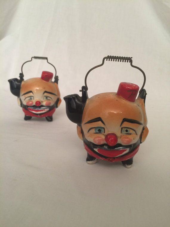 Mid Century Clown Face Salt & Pepper Shakers by oldfangledcool