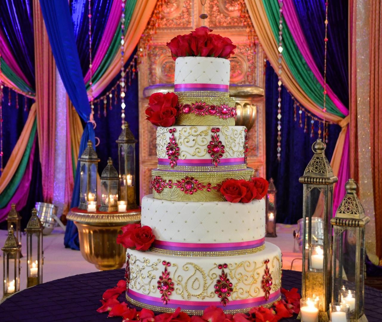 Stunning Wedding Venue And Decor Indian Inspired Cake By Zehra Pink Purple