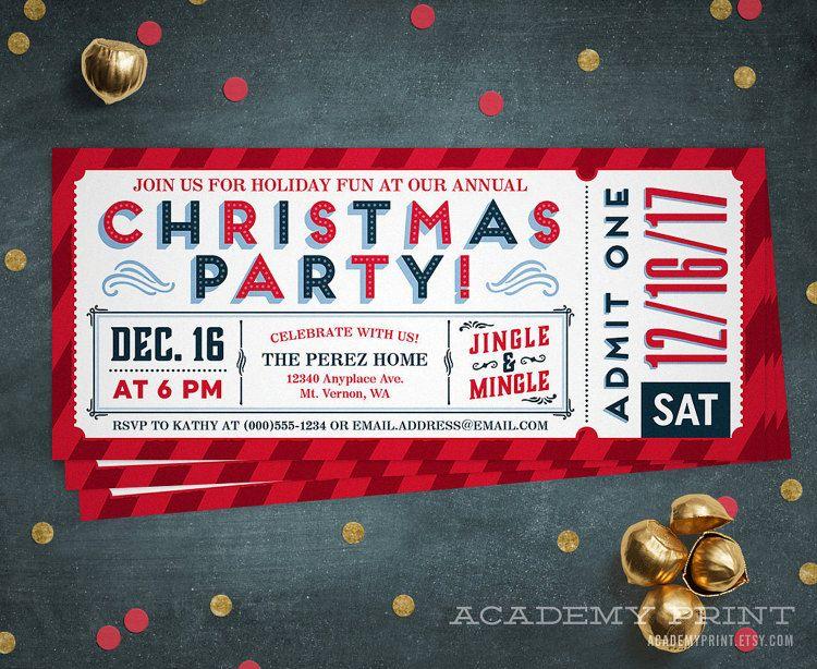 Christmas Party Ticket Invitation Printable Holiday Party Etsy Company Holiday Party Christmas Party Invitations Company Christmas Party