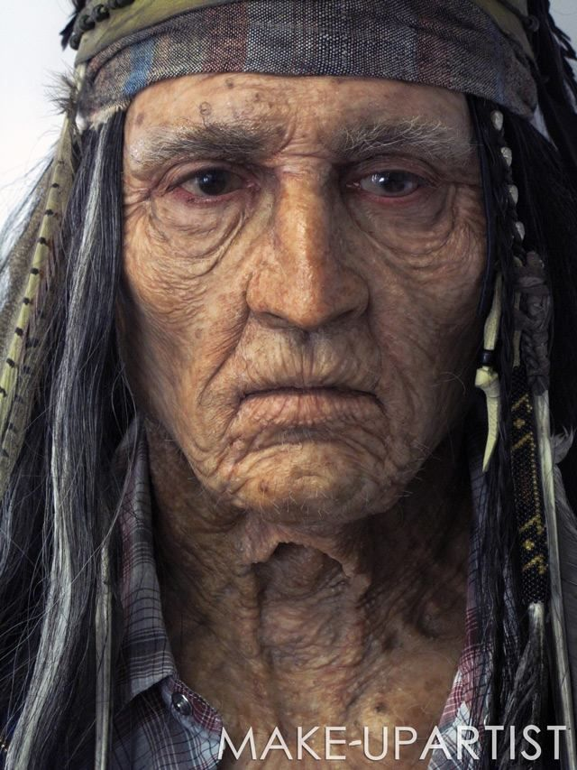 Johnny as the Old Tonto in The Lone Ranger - very impressive makeup!