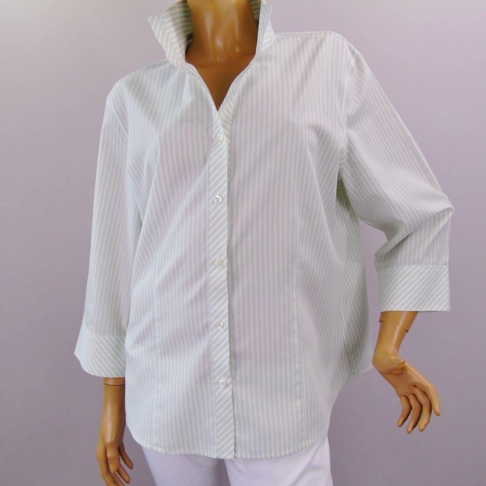c8ffafb2fa567 Chico s Size 3 Shirt Pastel Stripe Non Iron 3 4 Sleeve Button Down Womens  Top  Chicos  ButtonDownShirt  Career