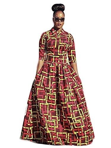 4eb596f9ca5baf Yobecho Womens African Print Dashiki Dress Long Fit and Flare Crop Top  Skirt Outfits Maxi Dress with Pockets at Amazon Women s Clothing store