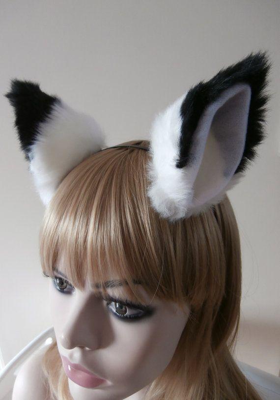 Black Faux Fur Clip On Costume Ears