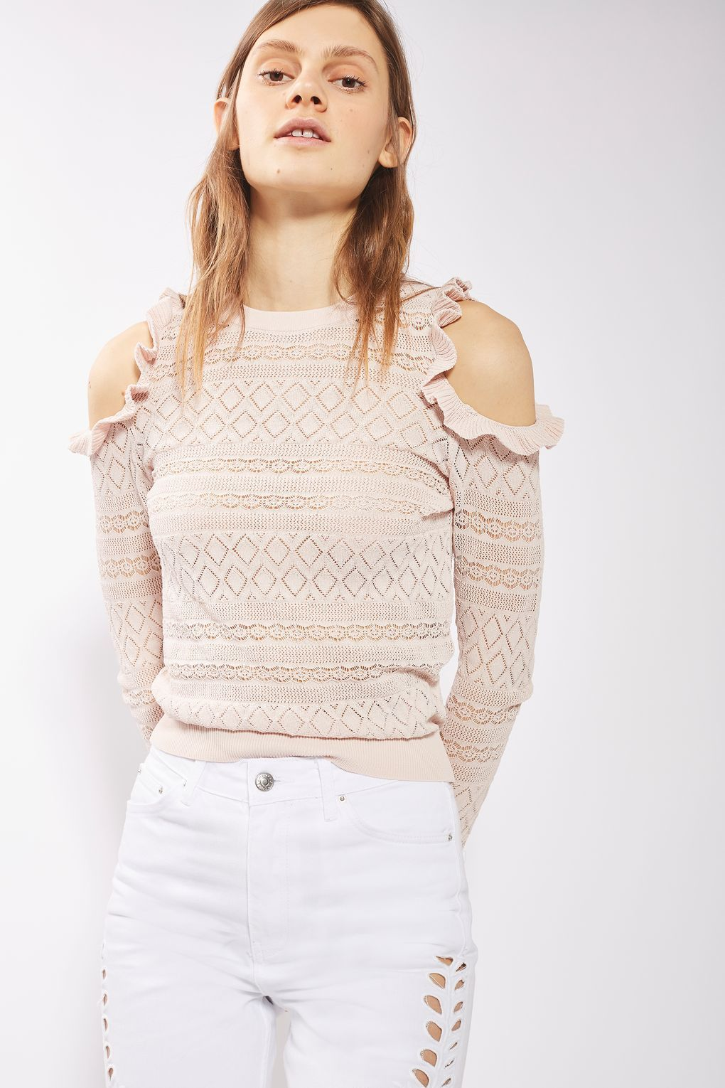 b2faaea00e5bc Pointelle Frill Cold Shoulder Knitted Top - New In- Topshop Europe
