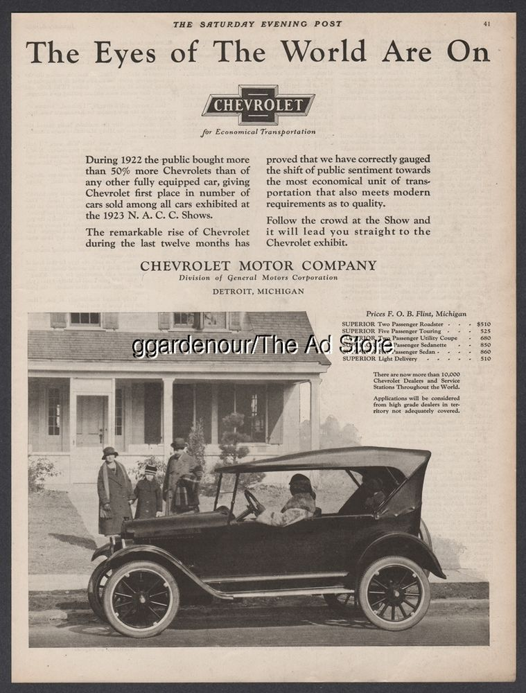 1923 Chevrolet Motor Co Flint MI Vintage Chevy Car Photo General ...