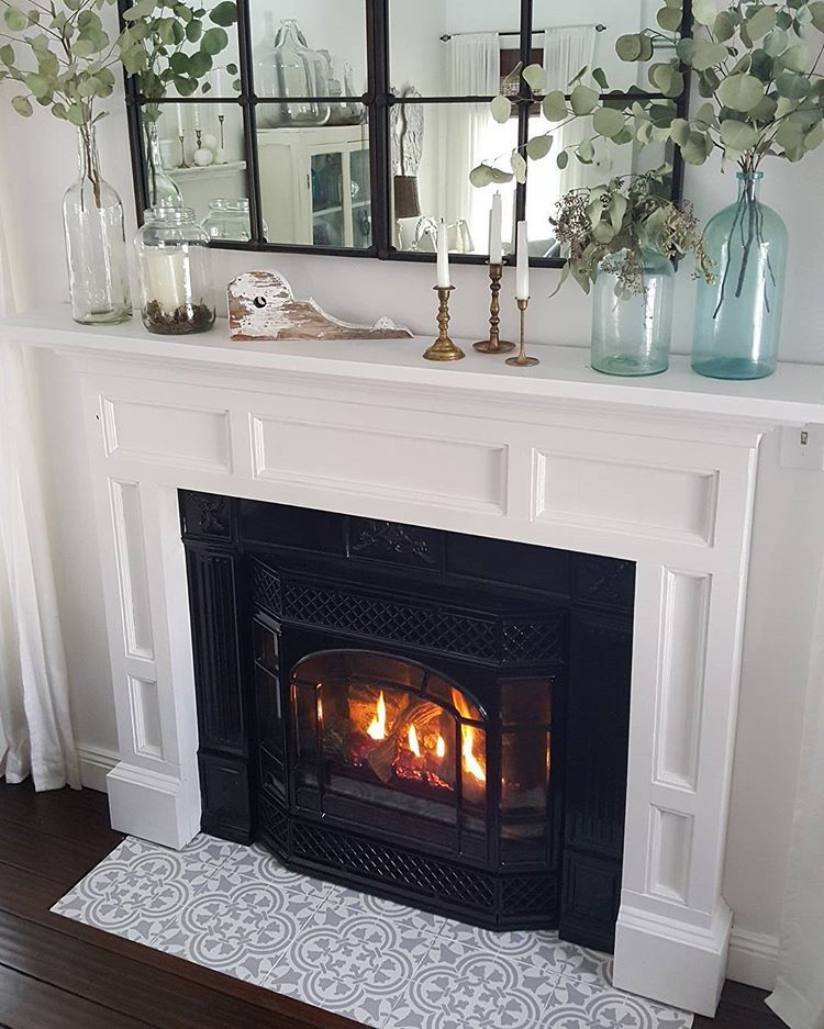 A diy stenciled fireplace hearth floor using the augusta for Stylish options for fireplace tile ideas