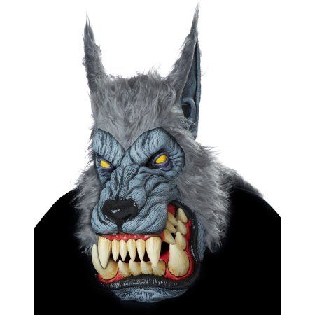 Animated Animal WEREWOLF BROWN Plastic Face Mask With Moveable Jaw Halloween