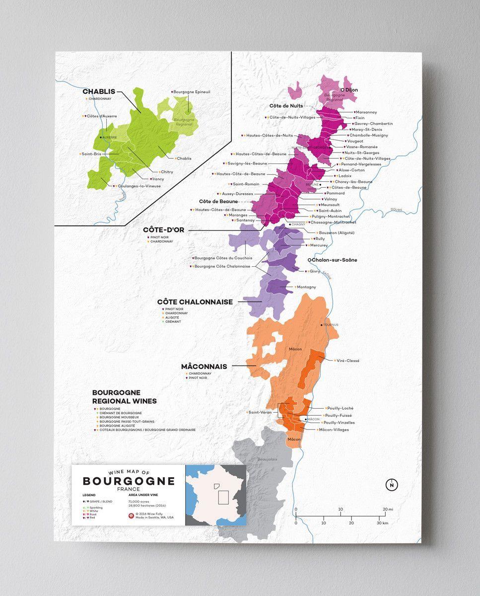 France Bourgogne Wine Map Wine folly, Burgundy wine map