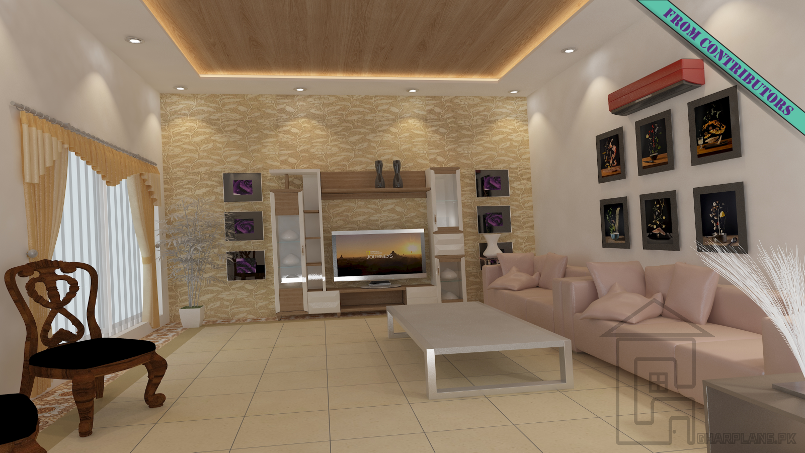Sitting room interior design with media wall false ceiling