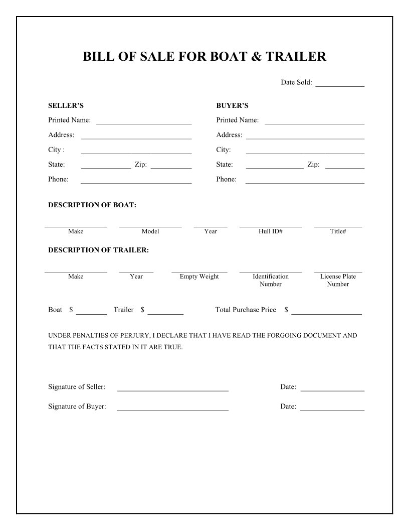 Marvelous Free Boat U0026 Trailer Bill Of Sale Form   Download PDF | Word  Bill Of Sale Template Doc