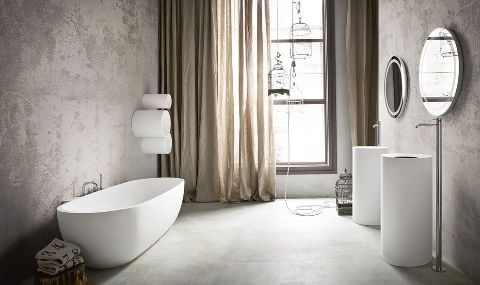 Lavabi bagno cilindrici in appoggio e da terra, Vasca da bagno ...