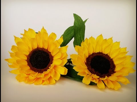 Abc Tv How To Make Sunflower Paper Flower From Crepe Paper Craft Tutorial Youtube Sloneczniki
