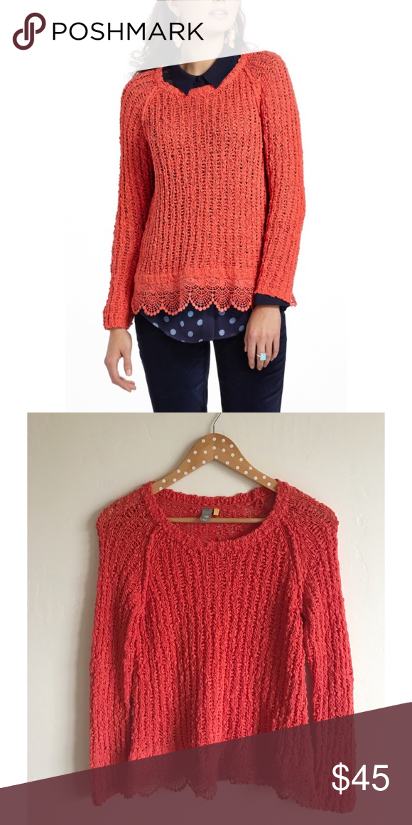 Anthropologie Knitted & Knotted Lace Hem Sweater Excellent condition • Knitted & Knotted sold at Anthropologie Anthropologie Sweaters