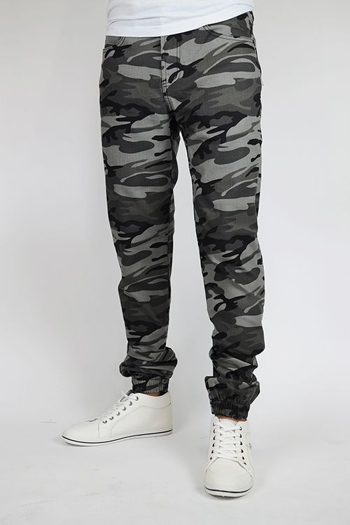 Men's Camo Black Denim Joggers.