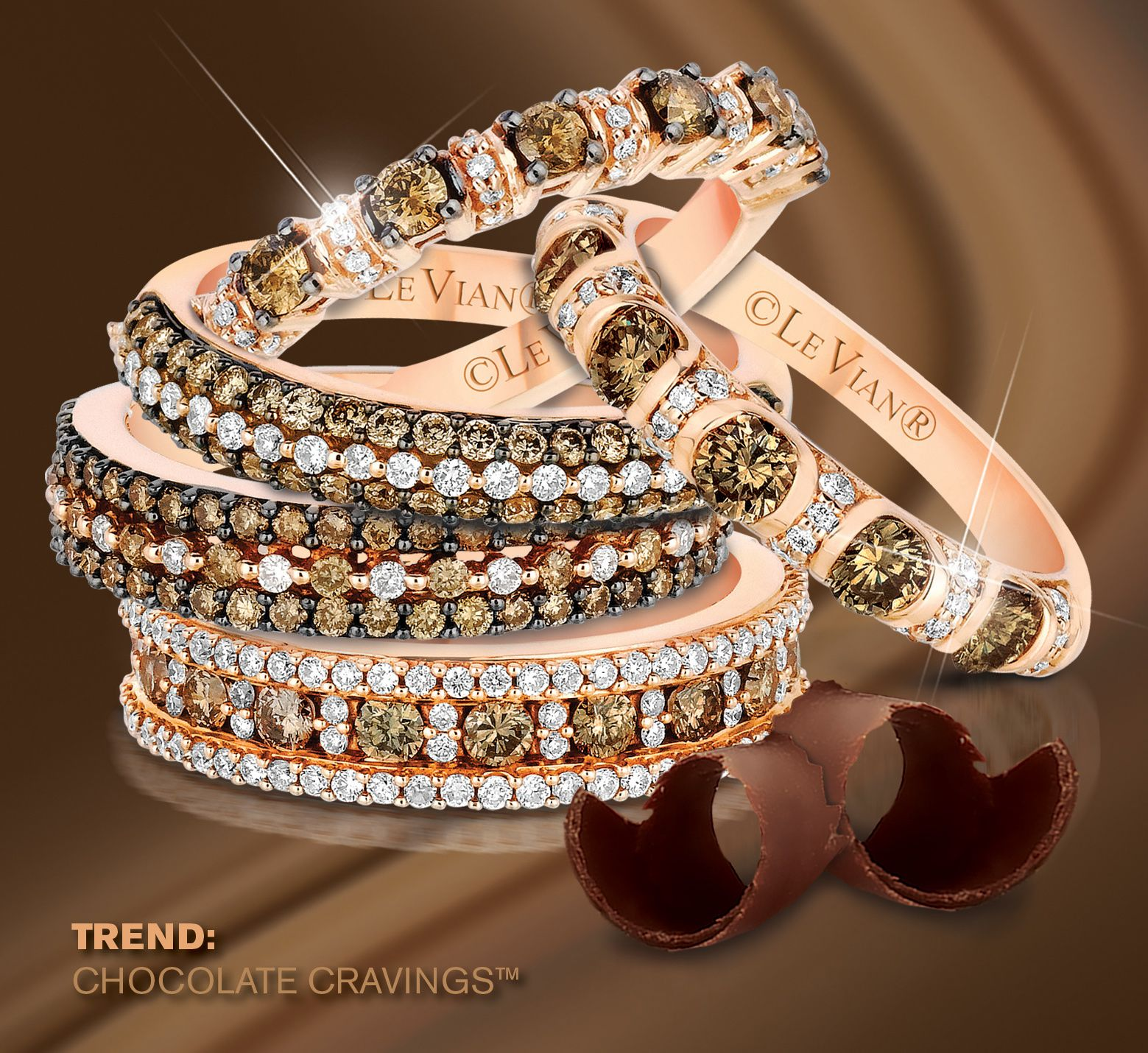 A group of Chocolate Diamonds® & Vanilla Diamonds® stackable bands ...