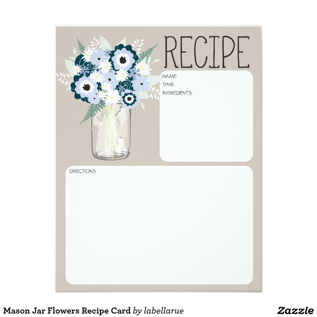 Southern Wedding Reception Food: Mason Jar Flowers Recipe Card