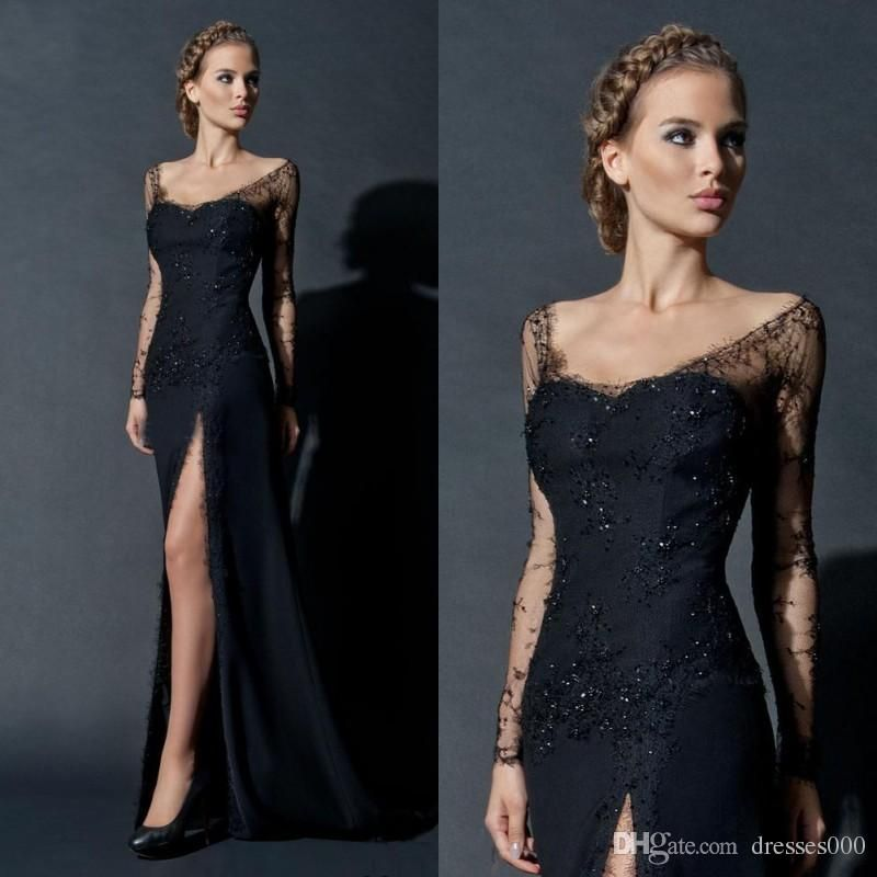 Vintage 2015 Paolo Sebastian Black Evening Gowns Dresses Sheath