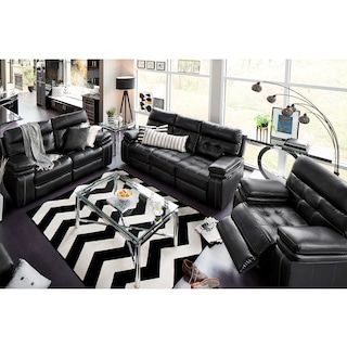 The Brisco Power Reclining Collection Black Black Leather Couch Living Room Leather Couches Living Room Reclining Sofa