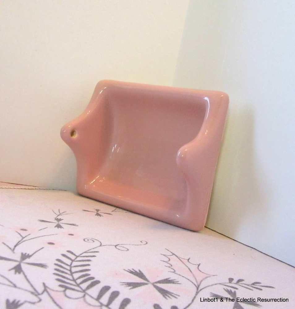 Vintage 1950s 60s Pink Ceramic Toilet Paper Holder Bathroom Tissue Recessed Euc Unknown Recessed Pink Ceramic Toilet Paper Holder