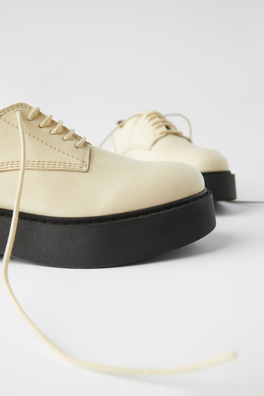 Skorzane Buty Derby Na Plaskiej Podeszwie Zara Polska Poland Derby Shoes Shoes Low Heels