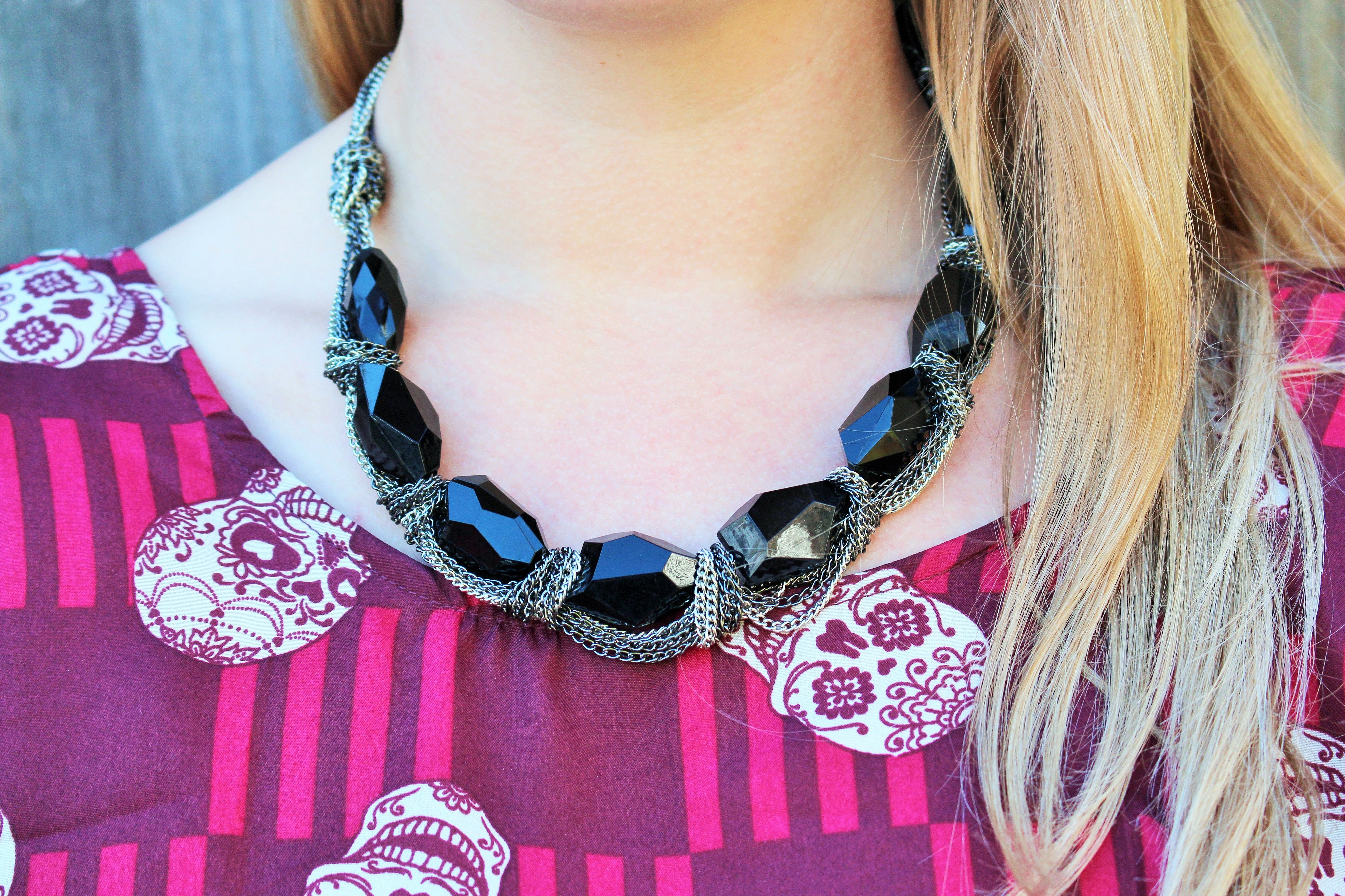 Halloween themed Look of the Week: Spooky Chic featuring the Cate & Chloe Cassandra Statement Necklace and C&C Shamballa pave crystal bracelets! #fashion #women #jewelry #accessories www.cateandchloe.com