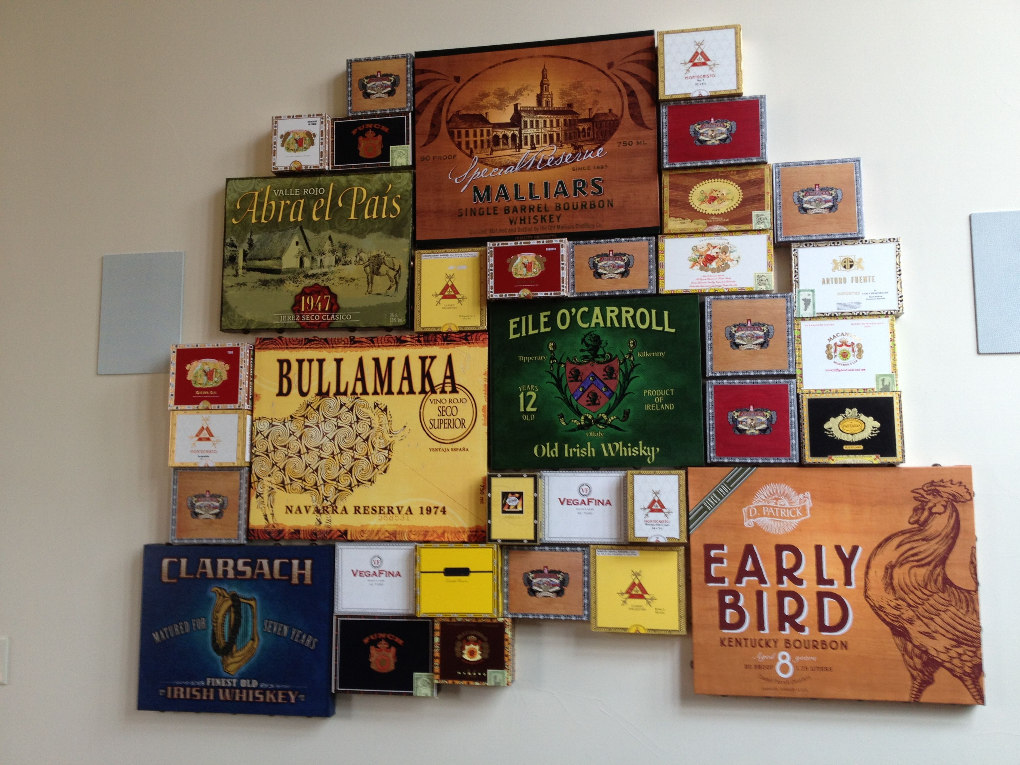 Cigar Boxes In Man Cave Or Game Room
