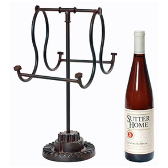 industrial iron wine bottle counter top holder