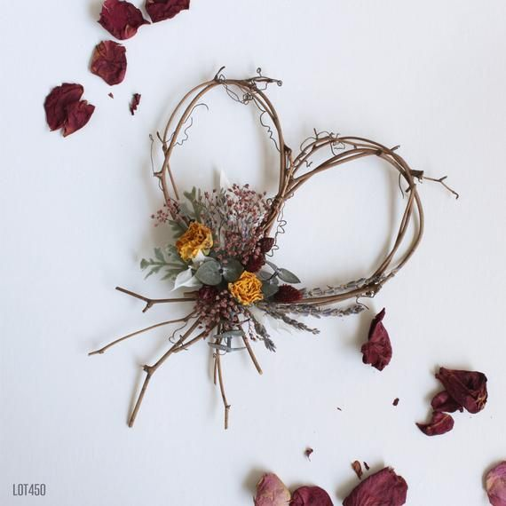 Photo of Wildflower heart wreath, vine wreath with dried flowers, heart-shaped decoration, bohemian rustic