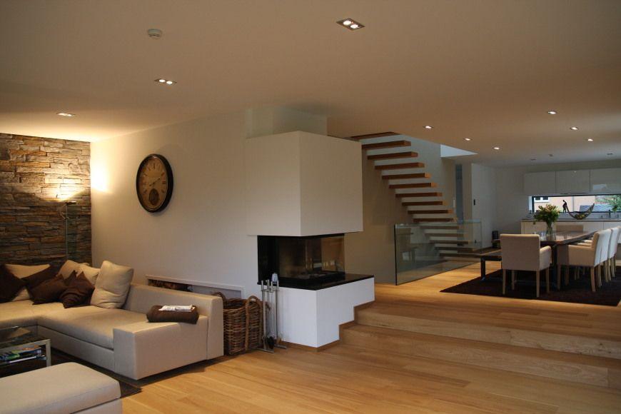 offener Wohnbereich - Einfamilienhaus F Haus - Ideen Pinterest - offene feuerstelle wohnzimmer