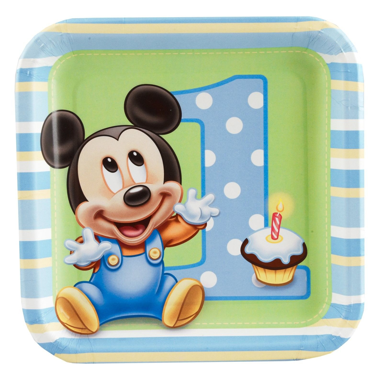 Mickey's 1st Birthday Square Dessert Plates (8 count) - Includes (8) 7 square dessert plates. This is an officially licensed © Disney product.