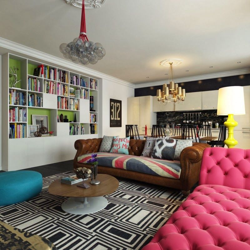 Pop art living room design with pink sofa color and large bookcase decor with black white carpet pattern pop art design new way in space decorating a space