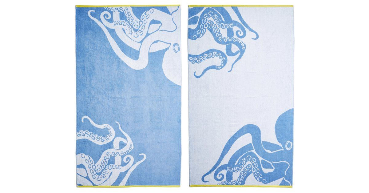 Octopus Beach Towel French Blue Yellow