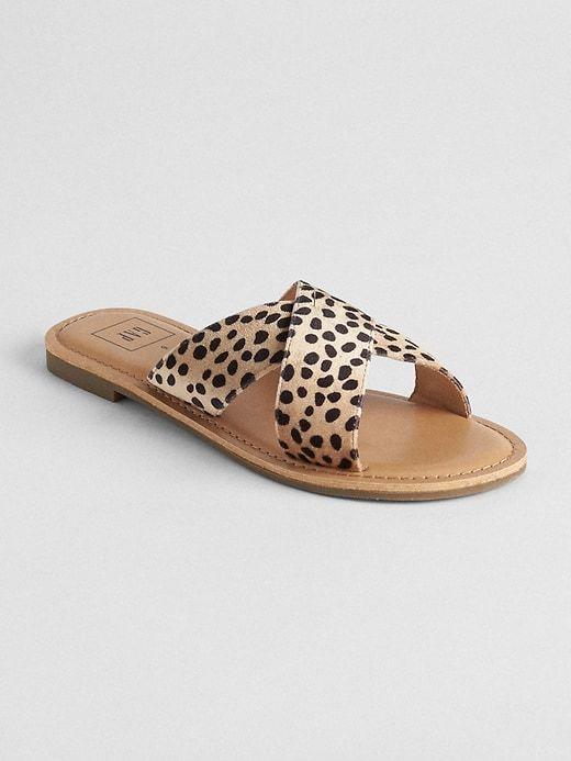 2a7f823601b8 Gap Womens Velvet Crossover Slip-On Sandals Cheetah Brown