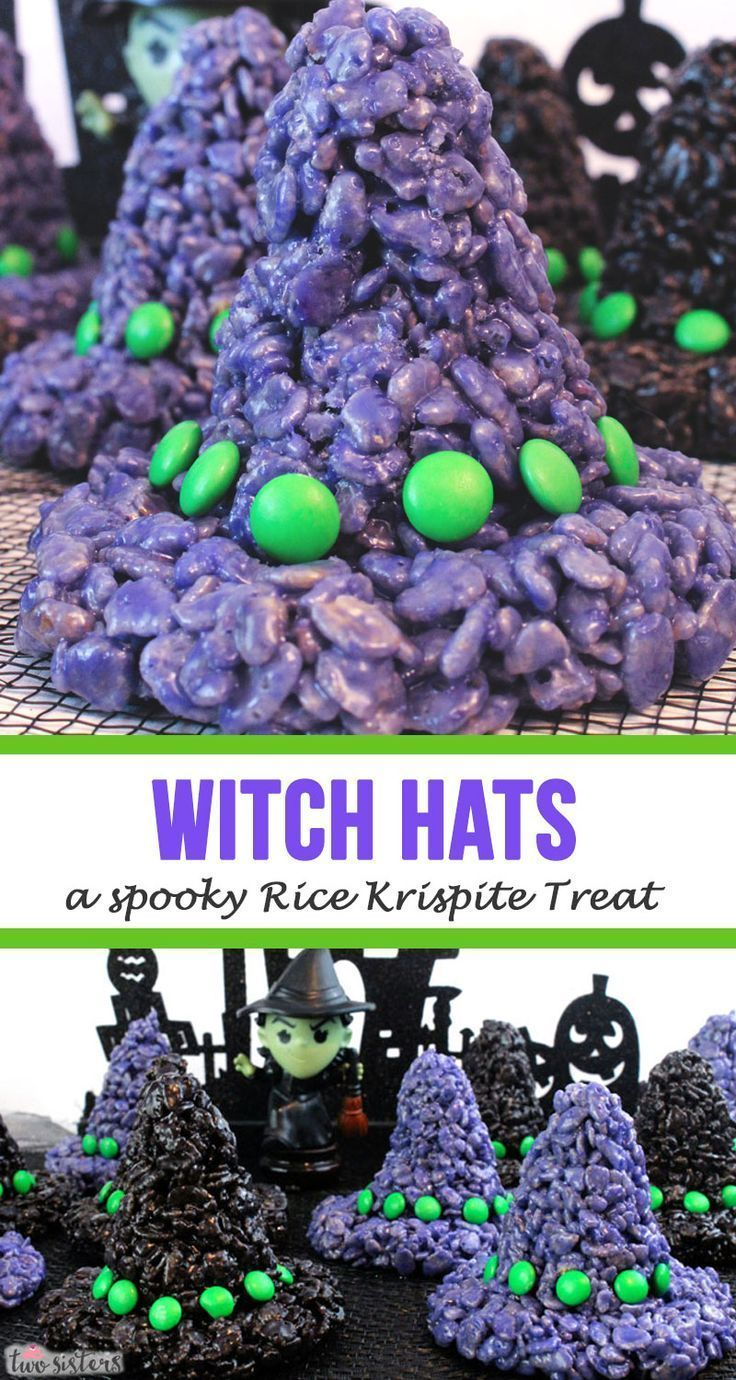 Witch Hats Rice Krispie Treats #halloweenricekrispietreatsideas Witch Hats - a spooky Rice Krispie Treat! Everyone loves Krispie Treats and these adorable Witch hat versions are no exception.  We have all the instructions you'll need to recreate these adorable Halloween Rice Krispie Treats at home for your friends or family.  Pin this cute Halloween Rice Krispie Treat recipe for later and follow us for more fun Halloween Ideas. #HalloweenRiceKrispieTreats #RiceKrispieTreats #Halloween #CandyCorn #halloweenricekrispietreatsideas