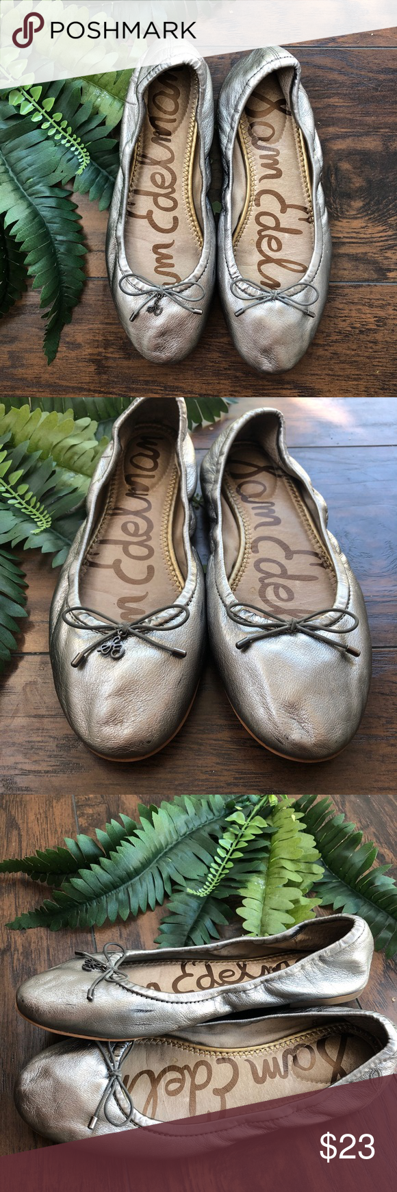 33ccea36b Sam Edelman Felicia Ballet Flat Soft Silver Size 8 With a charm-adorned bow  accent