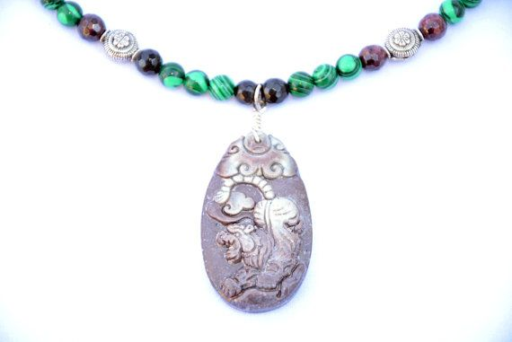 Check out Tiger King Necklace. Carved Gemstone Tiger Necklace. Powerful Tiger King Pendant. Tiger King Power Talisman Necklace. Chinese New Year. on flashinfashinjewelry