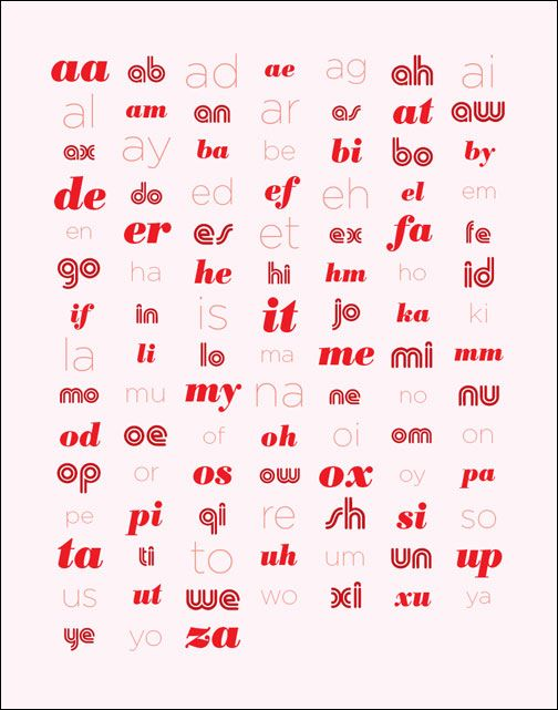 Poster of all 102 accepted two letter words for Scrabble. | Housey