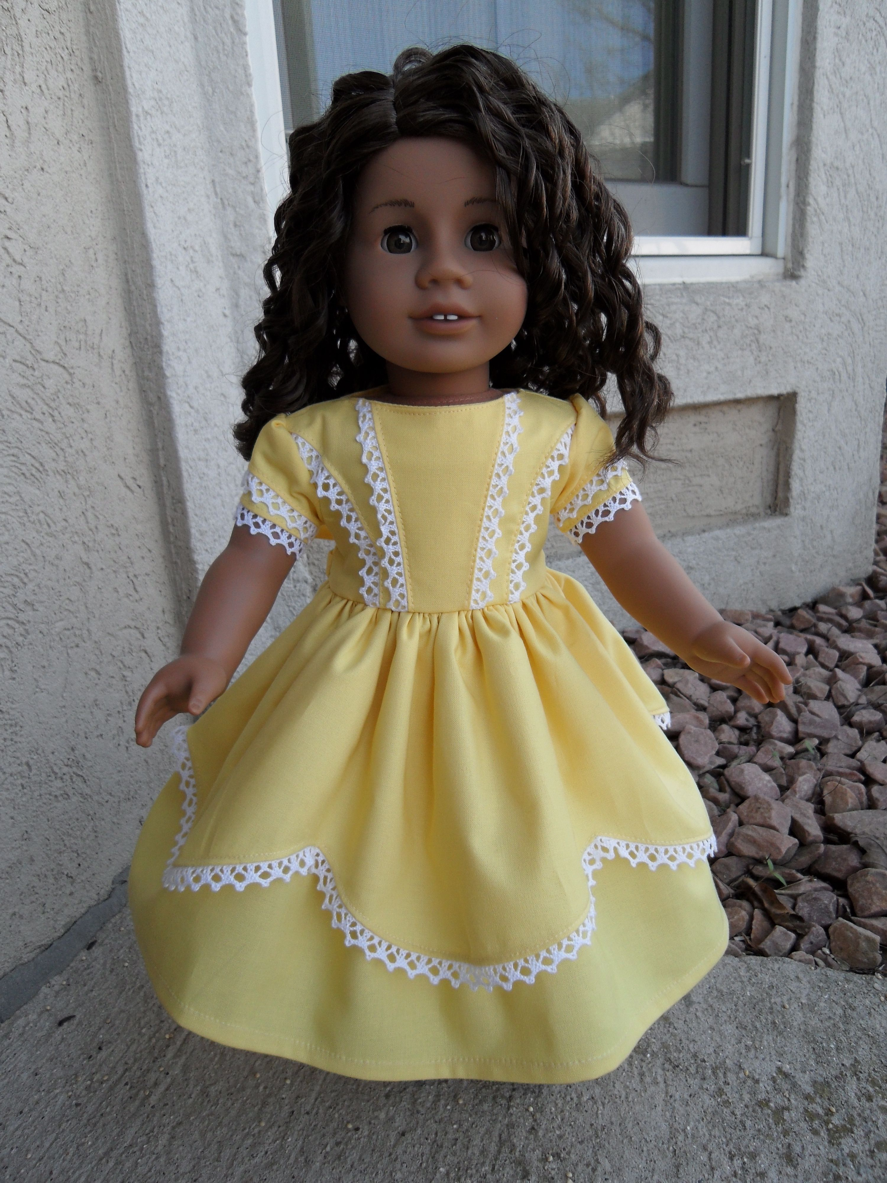 I used a  Keepers Dolly Duds pattern in soft Buttercup Yellow Kona Cotton    http://www.etsy.com/shop/kgabor19    https://www.facebook.com/pages/Katherines-Creations/129162887179594